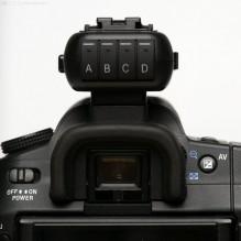 Phottix Strato II Multi, Transmitter auf (Sony-)DSLR, Rückansicht