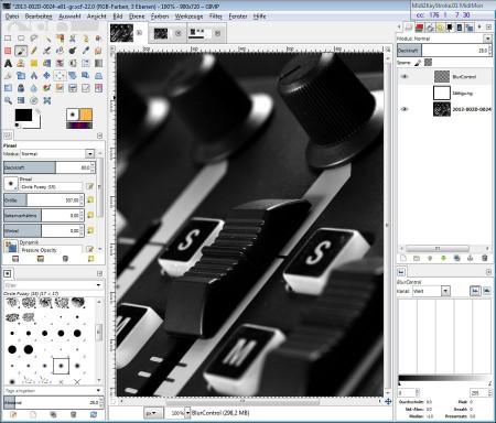 Bildbearbeitungssoftware: überall Regler und Listen